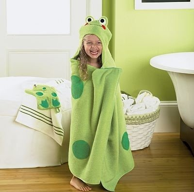 Green Hooded Kids Bath Towels